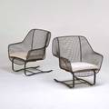 Russell woodard pair of sculptura cantilever lounge chairs usa 1960s enameled steel unmarked 32 x 33 x 30