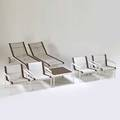 Richard schultz knoll international outdoor coffee table four lounge chairs and two chaises in asfound condition new york 1970s enameled aluminum and steel mesh stitched leather manufacture