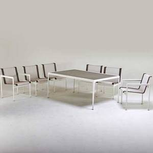 Richard schultz knoll international outdoor dining table and six chairs two arm four side new york 1970s enameled aluminum and steel mesh stitched leather manufacturer label to table tabl