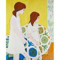Two young girls in an interior oil on canvas signed rosen framed 29 12 x 30 18