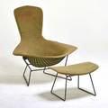 Harry bertoia knoll associates bird chair and ottoman usa 1960s painted metal rubber upholstery both tagged chair 38 12 x 38 x 35 ottoman 14 x 24 x 17