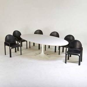 Eero saarinen gae aulenti knoll international tulip dining table and six armchairs usa 1970s enameled steel laminate leather manufacturers labels table 38 34 x 96 x 53 12 chair 33 x
