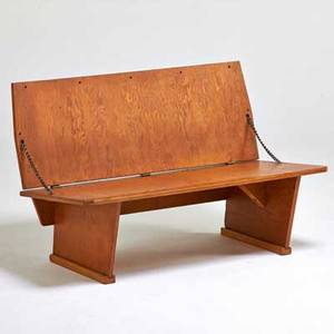 Frank lloyd wright folding bench made for the meeting house first unitarian society in madison wi 1951 plywood oak metal chain branded 27 x 42 x 24