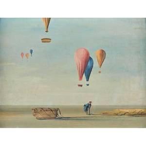 John morris american b 1965 oil on canvasboard of hot air balloons framed signed 11 34 x 15 34