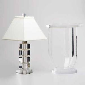 Contemporary two pieces crystal table lamp with silverplate fittings and lucite occasional table lamp 23 to finial occasional table 19 x 14 dia