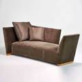 Joe durso donghia tribeca collection island sofa usa ca 2000 maple with velvet and silk holly hunt upholstery unmarked 31 x 83 x 43 12