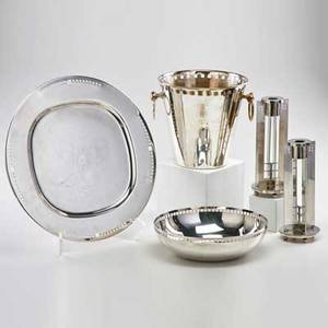 Richard meier swid powell five silverplated pieces ice bucket tray skyscraper bowl and pair of king richard candlesticks italy 1980s most marked tallest 8