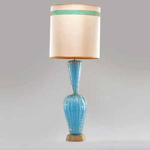 Style of seguso cased glass table lamp with gold foil inclusions complete with original shade murano ca 1960s unmarked 48 x 17