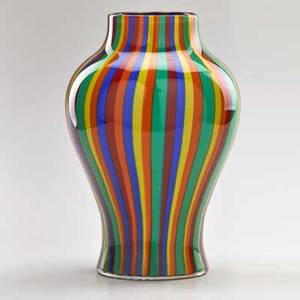Seguso multicolored striped vase in original packaging italy 20th c signed and marked with manufacturers label 12 x 7 dia