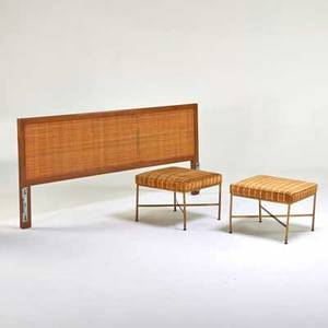 Harvey probber paul mccobb harvey probber queensize headboard and pair of paul mccobb upholstered benches usa 1960s bleached mahogany cane brass unmarked headboard 34 x 80 x 2 stool 16