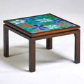 Harvey probber harvey probber inc side table falls river ma 1950s enameled copper mahogany unmarked 14 x 20 34 sq