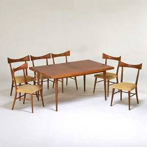 Paul mccobb winchendon furniture co extension dining table and six side chairs usa 1950s birch upholstery unmarked table 29 x 60 38 chair 35 x 20 12 x 20
