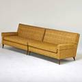 Paul mccobb twopiece sofa 1950s stained wood upholstery unmarked 30 x 97 x 34