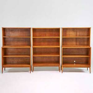 Paul mccobb winchendon furniture co planner group stacking cabinets 2 and bookcases 4 each with base winchendon ma 1950s maple foil tag cabinets 33 x 36 x 18 14 bookcases 24 x 36