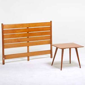 Paul mccobb winchendon furniture co planner group headboard and side table winchendon ma 1950s maple both branded headboard 36 x 53 12