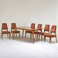 Vladimir kagan grosfeld house extension dining table with six side chairs new york 1940s walnut chenille upholstery unmarked table 29 12 x 62 x 42 chair 37 12 x 19 x 23 12 thre
