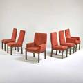 John stuart six dining chairs two arm four side usa 1950s patinated metal microfiber unmarked arm 39 12 x 25 x 23 side 39 12 x 19 x 20