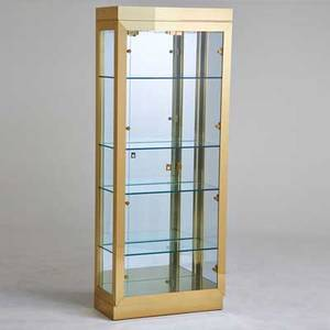 Designer illuminated curio cabinet usa 1980s brass glass mirror unmarked 80 x 32 x 15