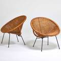 Designer pair of lounge chairs usa 1960s wicker bamboo enameled steel brass unmarked 31 12 x 30 x 27 12