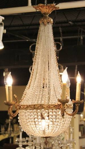 Bronze  Crystal French Basket Chandelier
