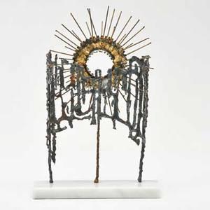 Joseph domareki torchcut metal sculpture on marble base usa 20th c signed joseph domareki 12 14 x 8 x 3