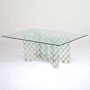 Style of c jere dining table 1970s welded and painted masonry nails glass unmarked 29 x 73 x 50