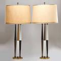 Midcentury lighting pair of tall table lamps 1950s brass enameled metal silk shade unmarked with shade 40 14 x 18 34 dia