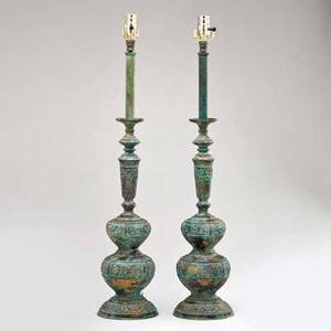 Marbro lamp co pair of tall table lamps with asian decoration black paper shades los angeles ca ca 1950s verdigris patinated brass unmarked to finial 39 12 x 6 34 dia