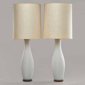 Paul hanson pair of frosted glass table lamps usa 20th c frosted glass wood and brass fittings unmarked each 46 x 16 14 dia