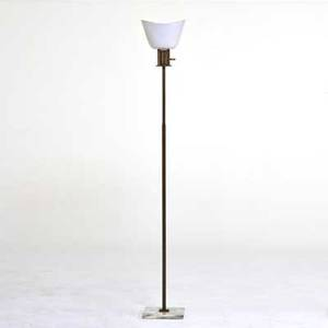 Midcentury lighting bronze floor lamp ca 1950s bronze enameled spun aluminum marble unmarked 61 12 x 8 34 sq