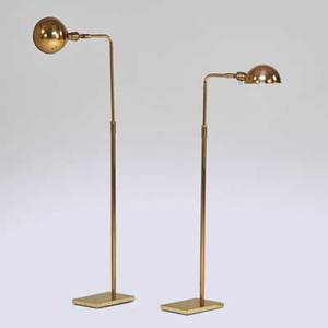 Koch and lowy pair of adjustable brass floor lamps usa 1960s both marked expanded 48 x 6 x 9