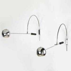 Robert sonneman pair of orbiter wall sconces usa 20th c chromed steel and resin unmarked 33 14 x 15