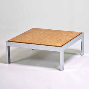 Milo baughman thayer coggin coffee table high point nc 1970s chromed steel olive burl unmarked 16 x 38 square
