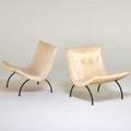 Milo baughman broyhill pair of scoop chairs usa 1960s enameled metal vinyl unmarked 29 x 26 14 x 28 12