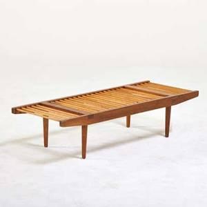 Milo baughman glenn of california slat bench usa 1950s walnut hickory unmarked 11 x 48 x 18