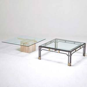 Designer two low tables usa 1970s patinated steel brass travertine glass larger 16 12 x 40 sq