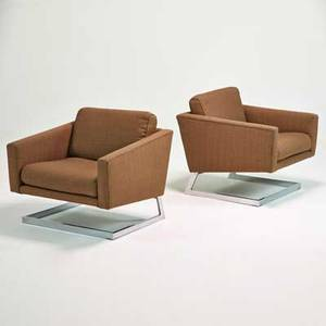 Style of milo baughman pair of lounge chairs usa 1970s chromed steel and upholstery unmarked each 29 12 x 30 x 32
