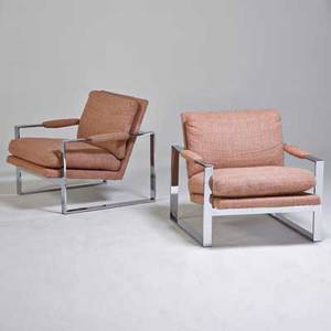 Style of milo baughman pair of lounge chairs usa 1970s chromed steel upholstery unmarked 28 x 29 x 30