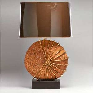French table lamp with gilt decoration and original shade ca 1970s glazed earthenware enameled metal illegible signature without shade 32 12 x 17 12 x 8