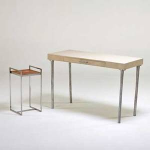 Contemporary desk and occasional table 1990s shagreen aluminum chromed steel fabric label to occasional table desk 29 34 x 47 14 x 20