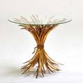 Italian side table 1960s gilt steel glass unmarked 24 x 27 dia
