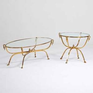 Style of maison jansen coffee table and matching side table italy 1970s solid brass glass stamped italy coffee table 17 14 x 54 x 26 side table 23 x 29 dia