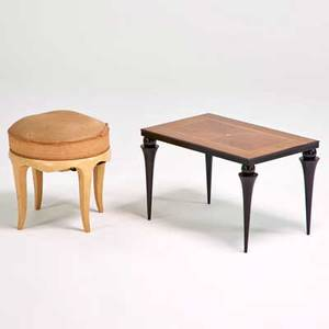 Jean pascaud side table and stool france 1930s enameled and inlaid mixed woods upholstery unmarked table 15 x 24 x 16 stool 16 12 x 16 12 dia