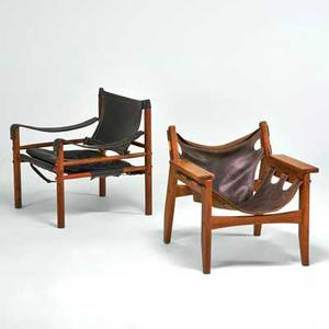 Sergio rodrigues oca etc kilin lounge chair together with a similar safari chair brazil 1960s rosewood stitched saddle leather brass metal label larger 27 x 26 12 x 25