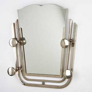 French art deco wall mirror with four hooks 1930s chromed steel mirrored glass unmarked 19 12 x 18 12 x 4