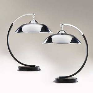 Mariano fortuny pair of table lamps france c 1927 enameled steel chromeplated brass and steel bakelite both missing hemispheric chromeplated reflectors 25 x 22 x 17