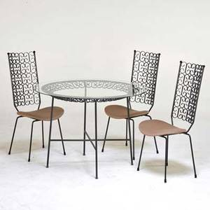 Arthur umanoff dining table and three chairs usa 1950s enameled steel glass upholstery unmarked table 30 x 42 dia chair 39 12 x 18 12 x 21