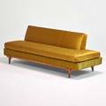 Hollywood regency style sofa usa 1960s stained wood silk upholstery 28 x 75 x 33