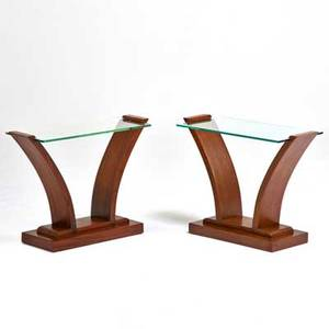 Art deco pair of side tables usa 1930s mahogany glass unmarked 21 x 27 x 12