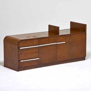 Gilbert rohde herman miller cabinet zeeland mi 1930s oak matte chromed steel unmarked 22 12 x 50 x 15